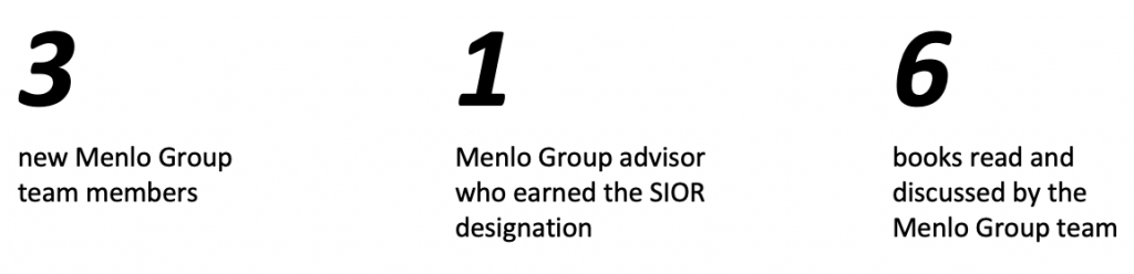3 new team members, 1 new SIOR & 6 books read by Menlo Group in 2020