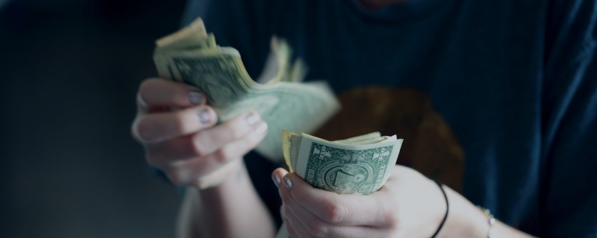 Commercial lender counting money